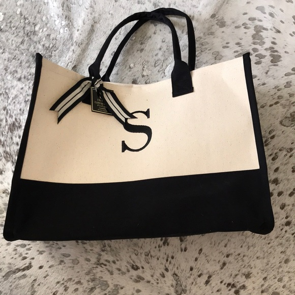"""e64bf161f8b0 Mud Pie """"s"""" initial canvas tote new with tag"""